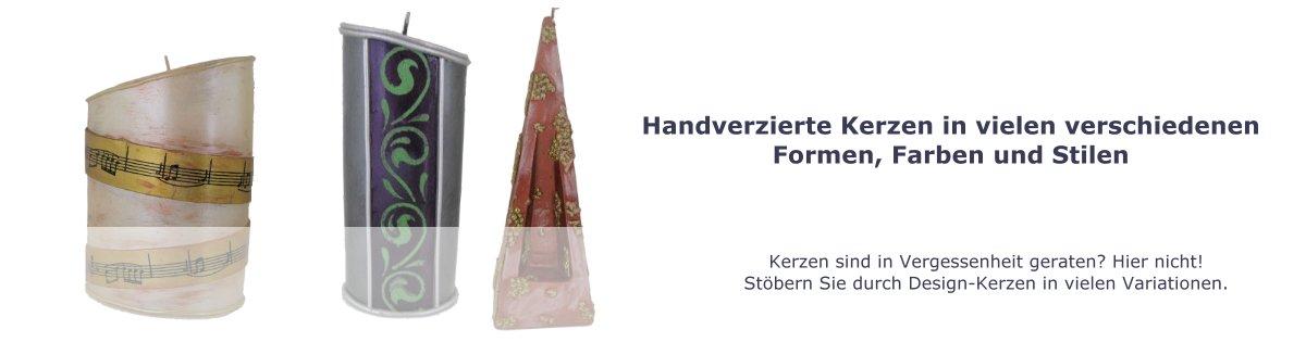 handverzierte Kerzen, verziert, Wachskerzen in Handarbeit