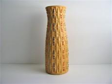 Vase | ocker | Reliefmuster | bunte Punkte