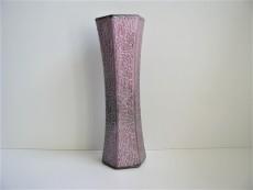 Vase   Flieder   Sechseckig   Crackle - Optik