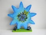 Blume | Holz | in Blautönen aufwendig verziert