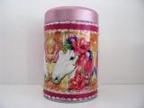 Dose, rund, mit Deckel in Apricot   Rosa mit Einhornmotiv, handverziert