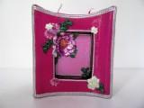 Kerze | Blockform mit Aushöhlung | Pink - Violett - Rosa mit Verzierungen