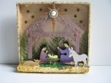 Weihnachstkrippe in 3 - D aus Holz in ländlichem Stil