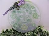 Deko   Fenster  rund   grün   Blüten