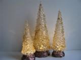 3 LED - Kristall - Tannenbäume transparent in Weiß | Gold