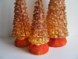 3 LED - Tannenbäume mit Timer Kupfer | orange | gold