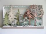 Winterlandschaft (Holz) beleuchtet im Vintage - Stil